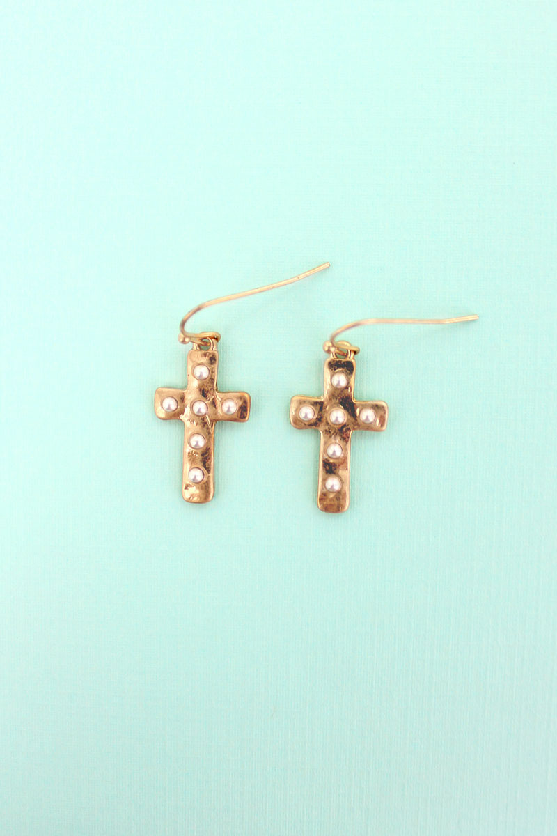 Studded Worn Goldtone Cross Earrings