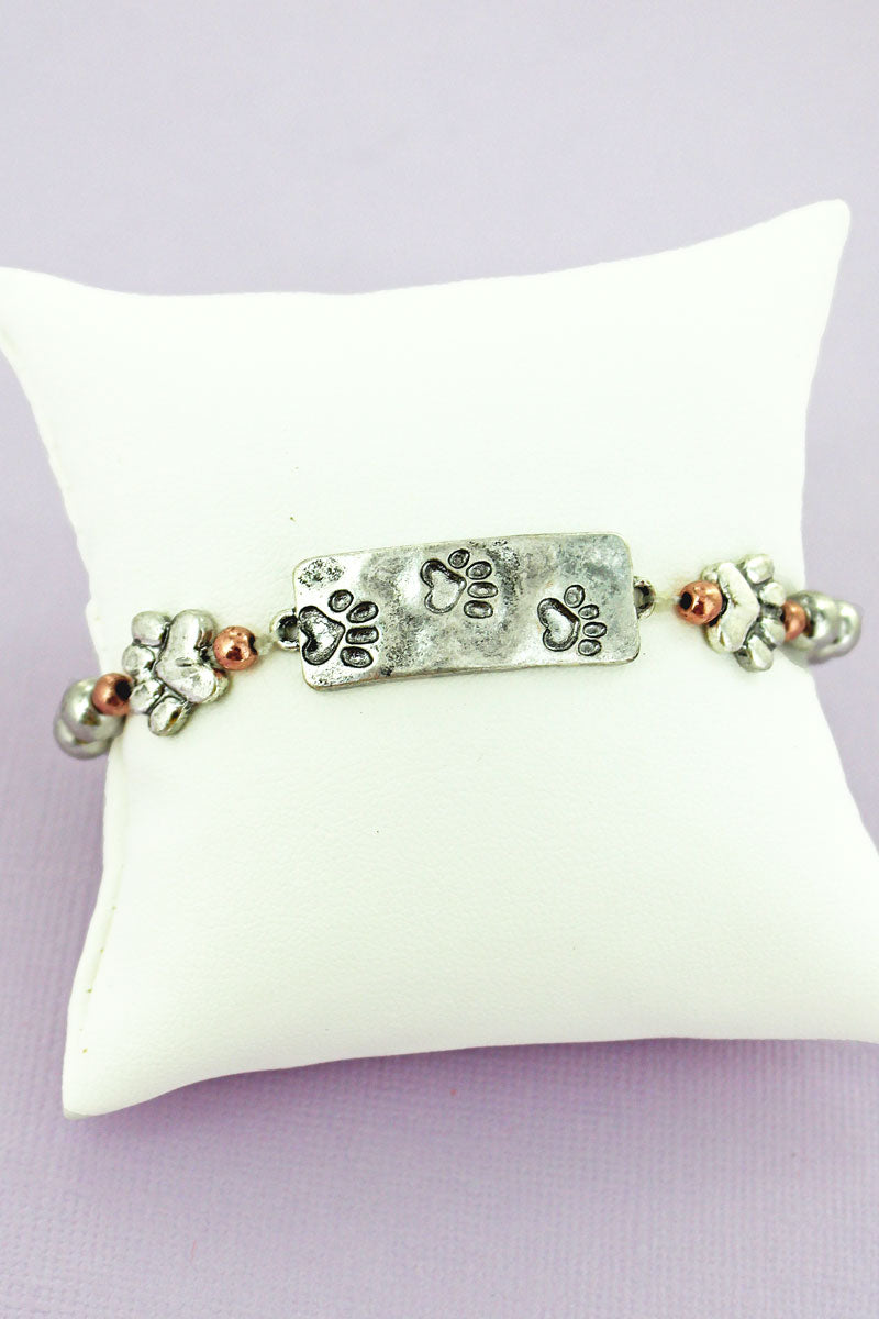 Burnished Tri-Tone Paw Print Bar Beaded Stretch Bracelet