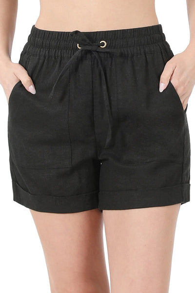 Black Linen Drawstring Waist Shorts with Pockets