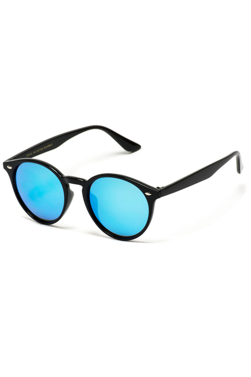 Black and Blue Mirror Round Sunglasses