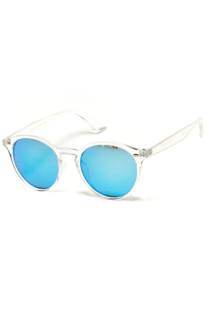 Clear and Blue Mirror Round Sunglasses