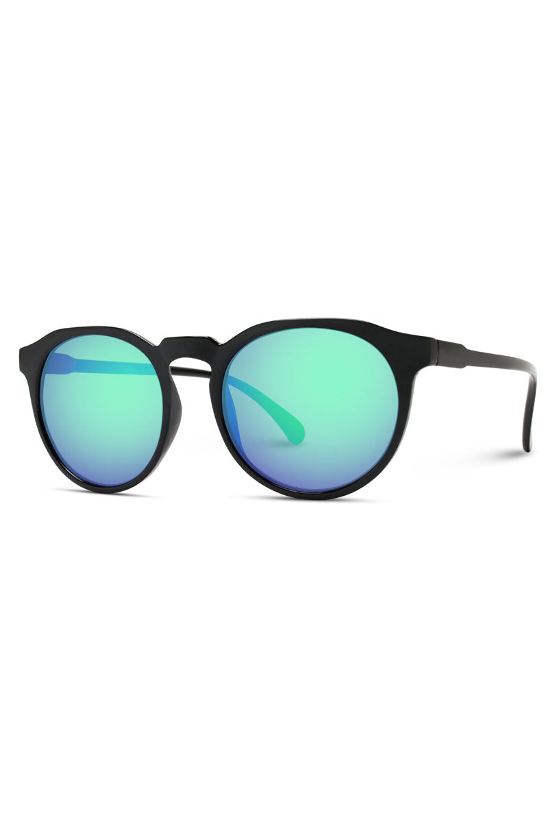 Black Horn Rimmed with Green Mirrored Round Lens Sunglasses