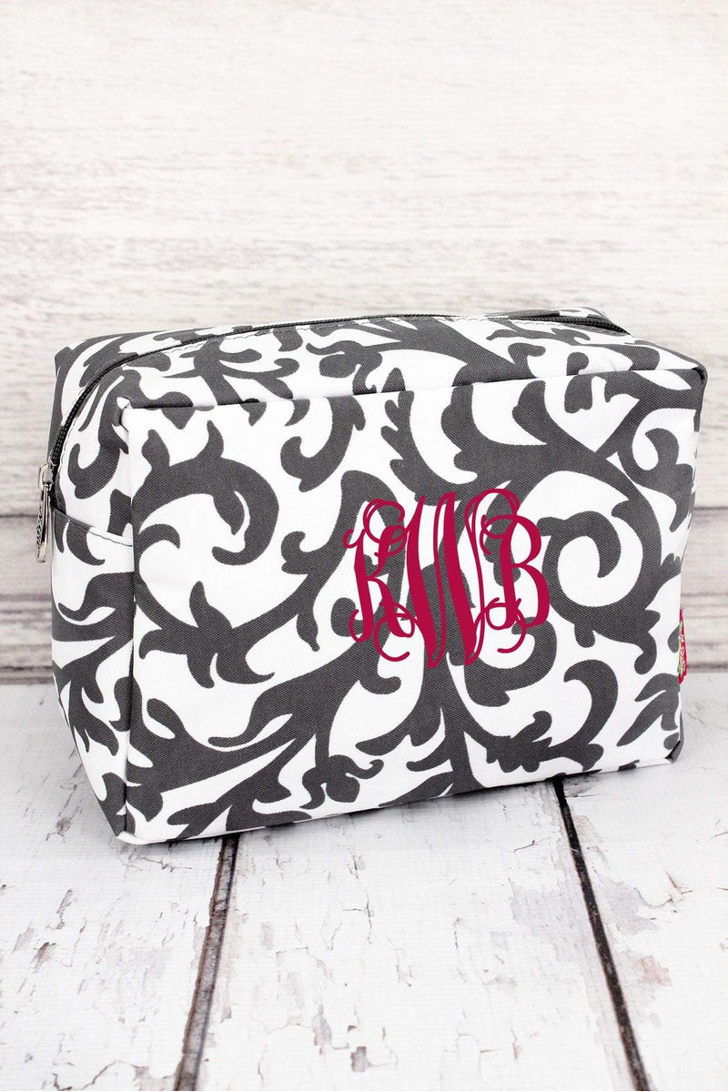 *Gray Ivy Damask Cosmetic Case #RMK613-GRAY - Wholesale Accessory Market