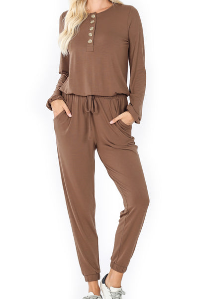 Mocha Long Sleeve Jogger Jumpsuit with Pockets