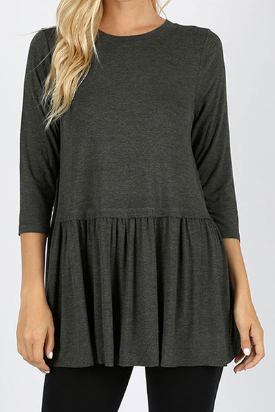 Charcoal Rayon Ruffle Bottom 3/4 Sleeve Top