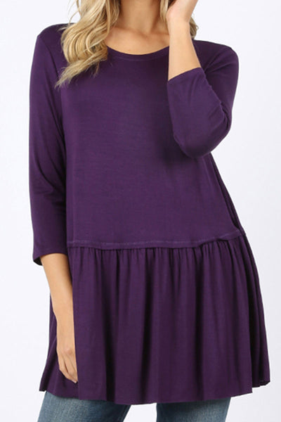 Dark Purple Rayon Ruffle Bottom 3/4 Sleeve Top