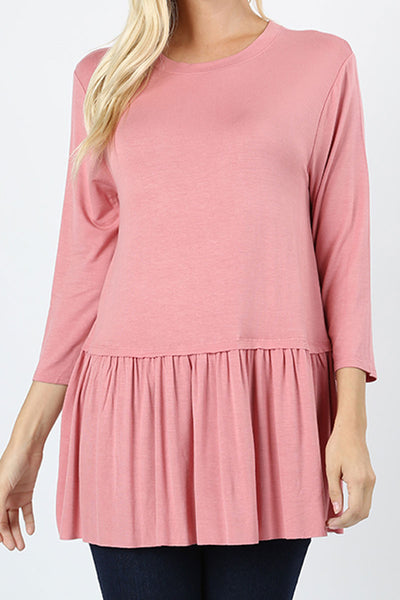 Dusty Rose Rayon Ruffle Bottom 3/4 Sleeve Top