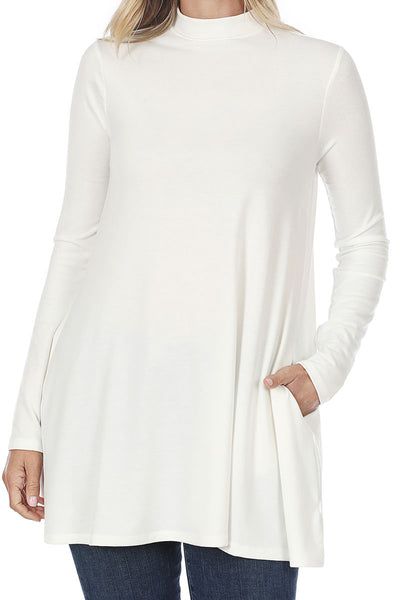 Ivory Long Sleeve Mock Neck Top