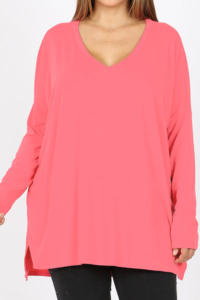 Plus Size Desert Rose Long Sleeve V-Neck Dolman Top with Side Slits