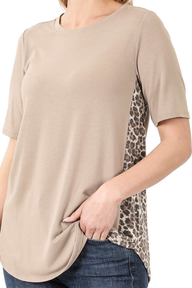 Ash Mocha with Leopard Side Panel Short Sleeve Top