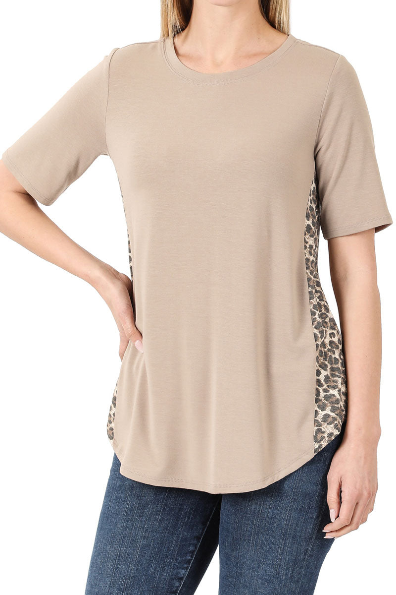 Plus Size Khaki with Leopard Side Panel Short Sleeve Top
