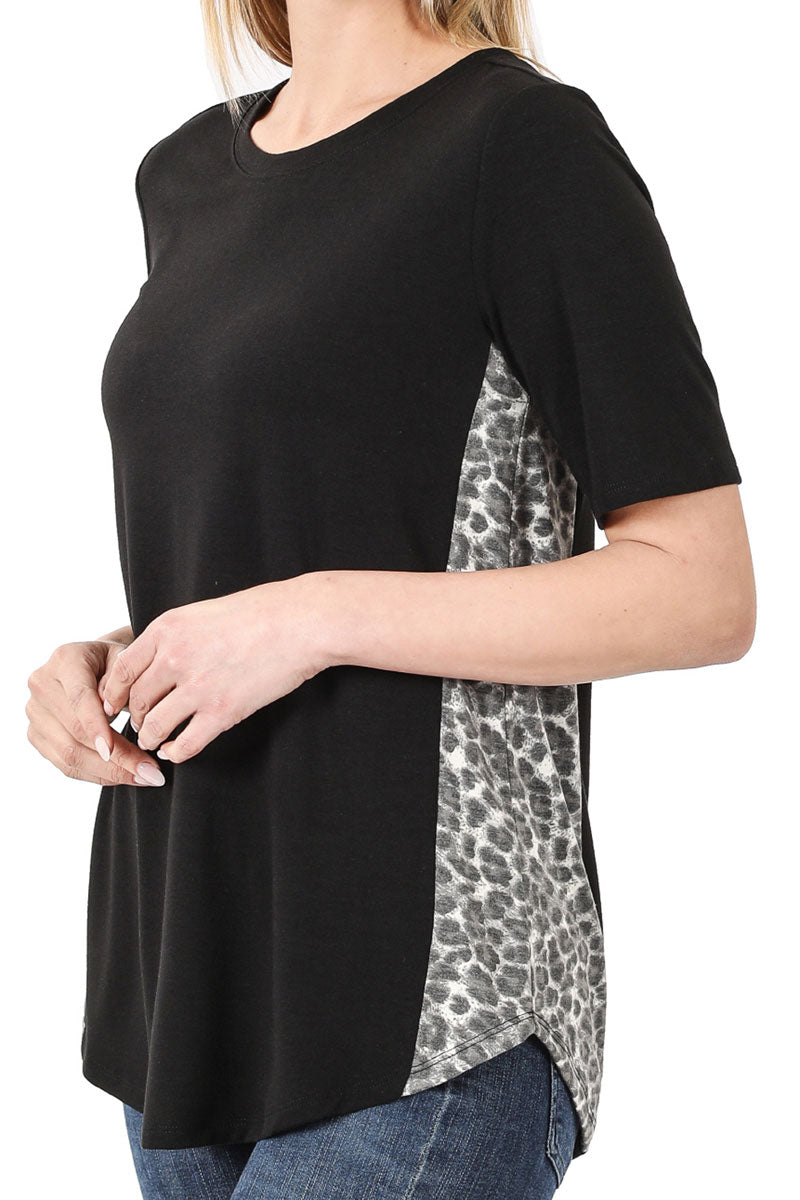 Black with Gray Leopard Side Panel Short Sleeve Top