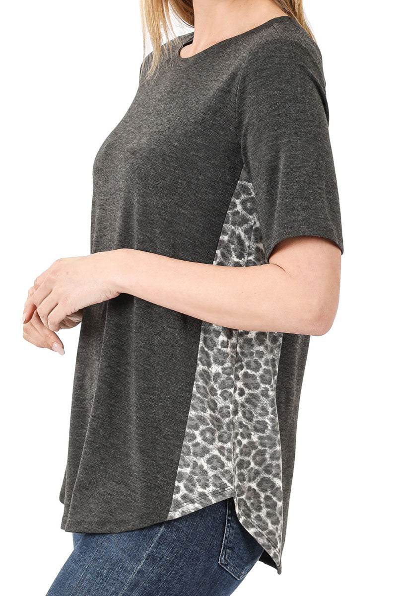 Charcoal with Gray Leopard Side Panel Short Sleeve Top