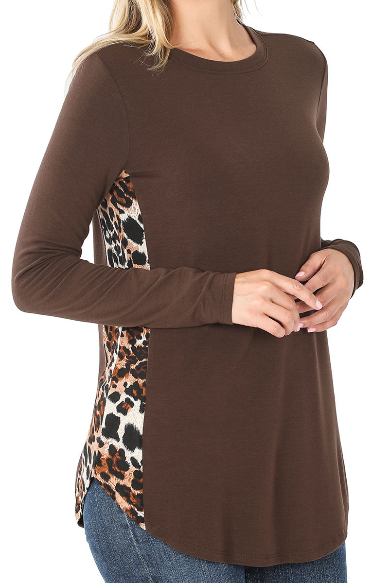 Brown with Leopard Side Panel Long Sleeve Top