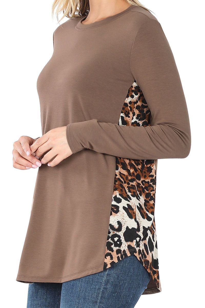Mocha with Leopard Side Panel Long Sleeve Top
