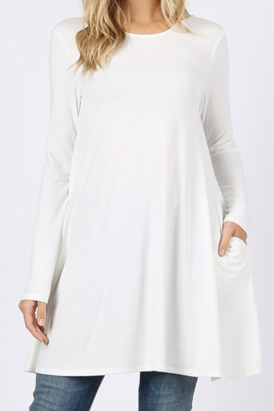 Ivory Long Sleeve Swing Tunic with Pockets
