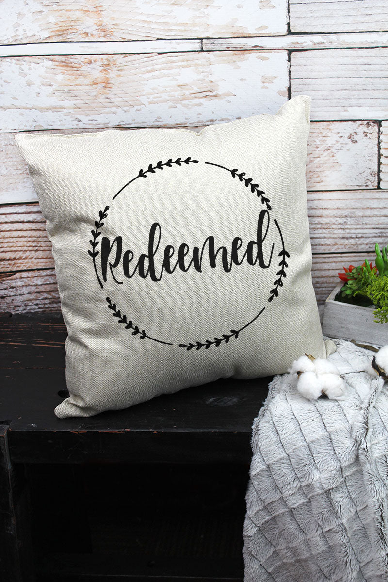 Redeemed Wreath Decorative Pillow Cover