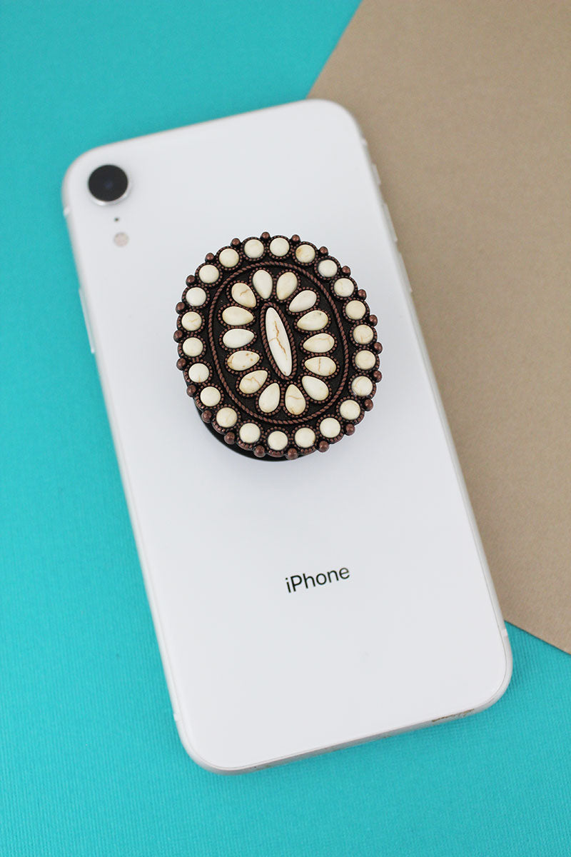 White Stone Beaded Oval Cell Phone Grip Cover