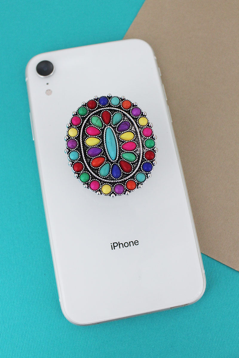 Multi-Color Stone Beaded Oval Cell Phone Grip Cover