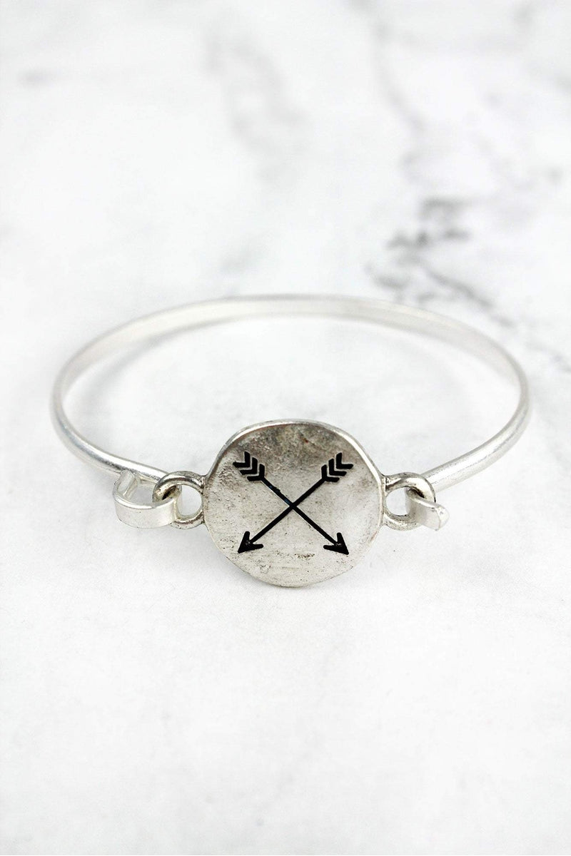 Worn Silvertone Crossed Arrows Bracelet