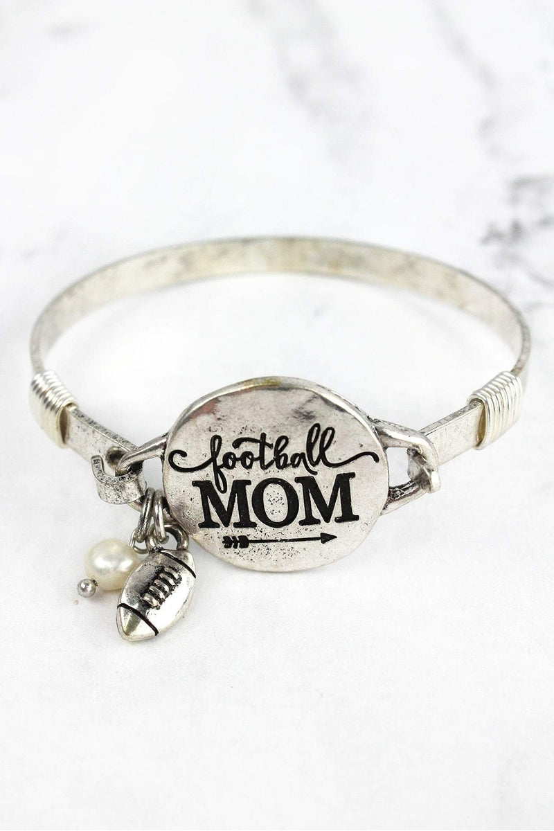Burnished Silvertone 'Football Mom' Bracelet