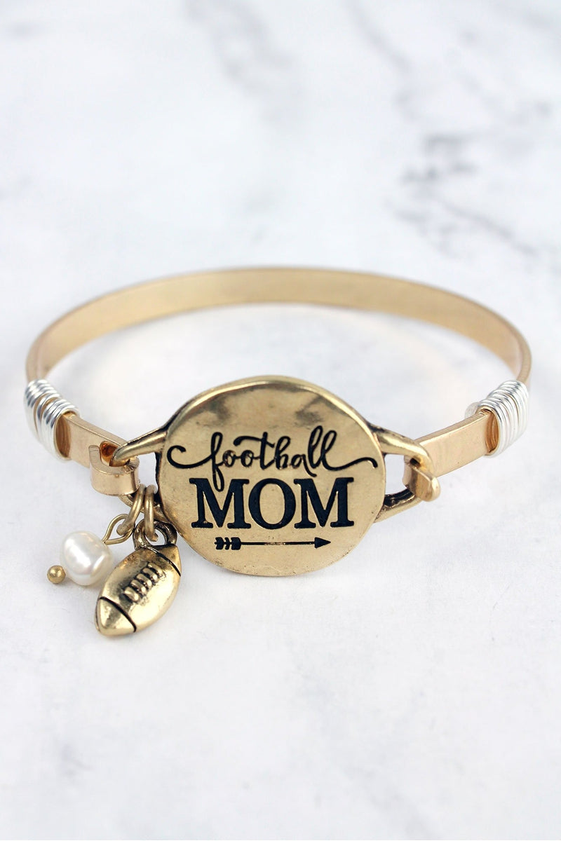 Worn Goldtone 'Football Mom' Bracelet