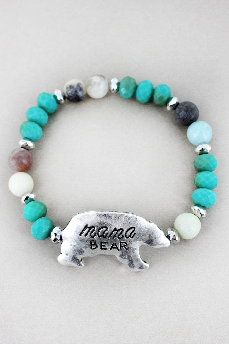 Silvertone 'Mama Bear' Turquoise Beaded Stretch Bracelet