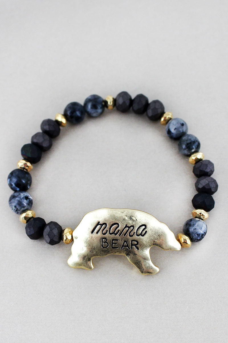 Goldtone 'Mama Bear' Black Beaded Stretch Bracelet