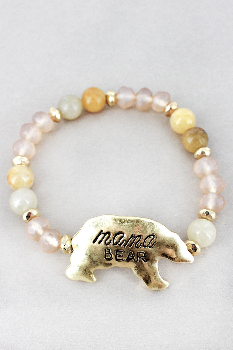 Goldtone 'Mama Bear' Natural Beaded Stretch Bracelet