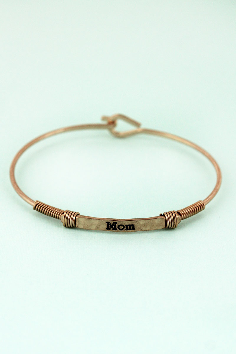 Worn Goldtone Wire-Wrapped 'Mom' Bar Bracelet