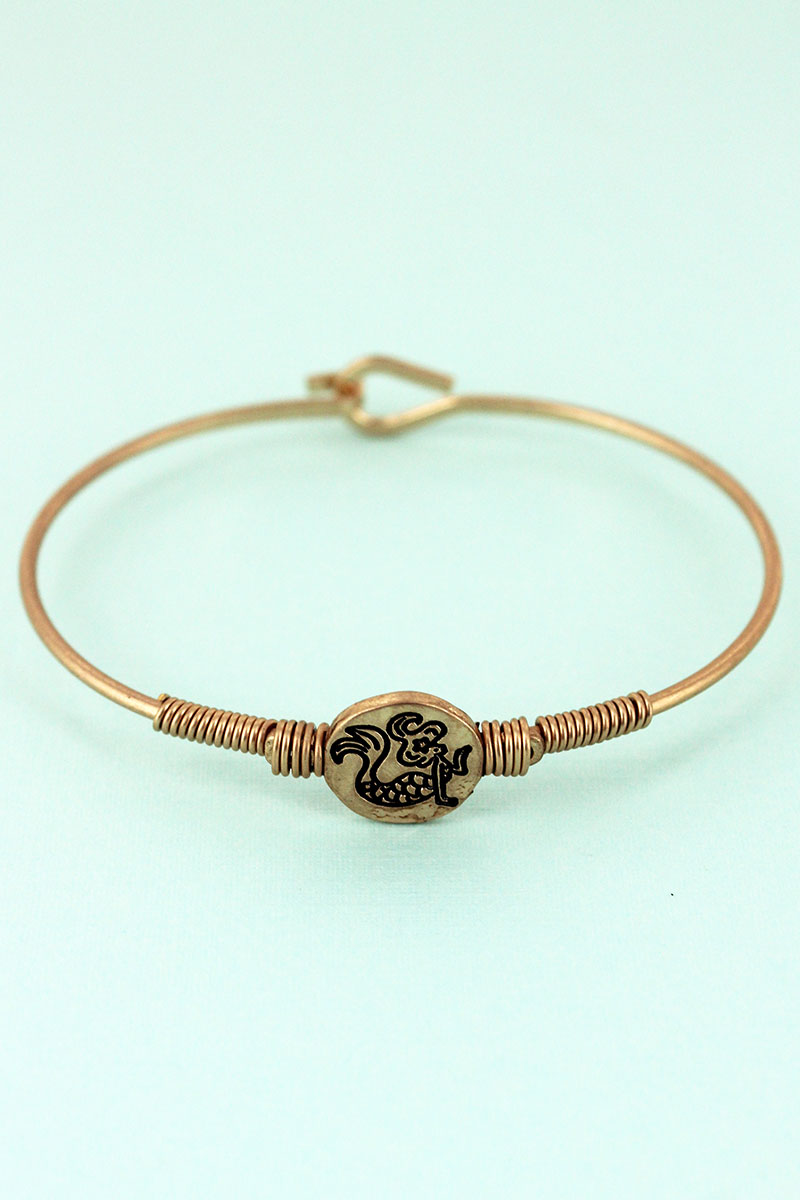 Worn Goldtone Wire-Wrapped Mermaid Disk Bracelet