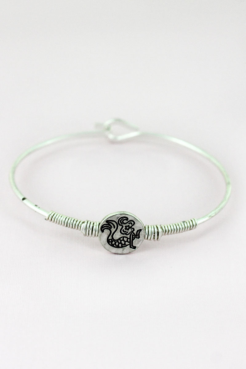 Worn Silvertone Wire-Wrapped Mermaid Disk Bracelet