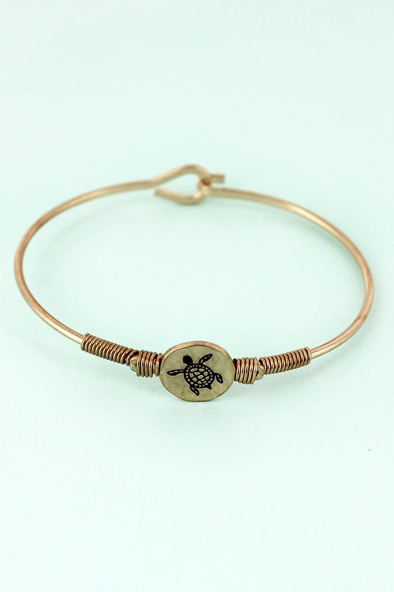 Worn Goldtone Wire-Wrapped Turtle Disk Bracelet