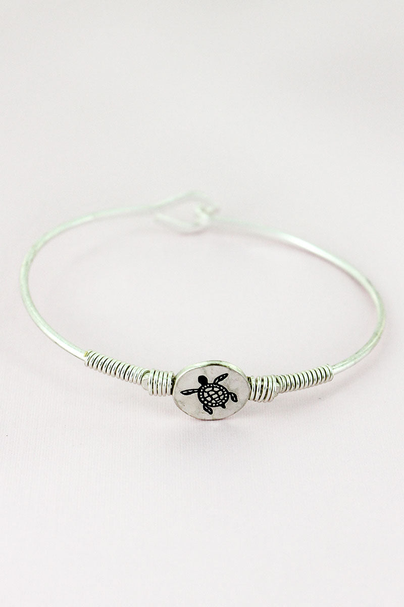 Worn Silvertone Wire-Wrapped Turtle Disk Bracelet