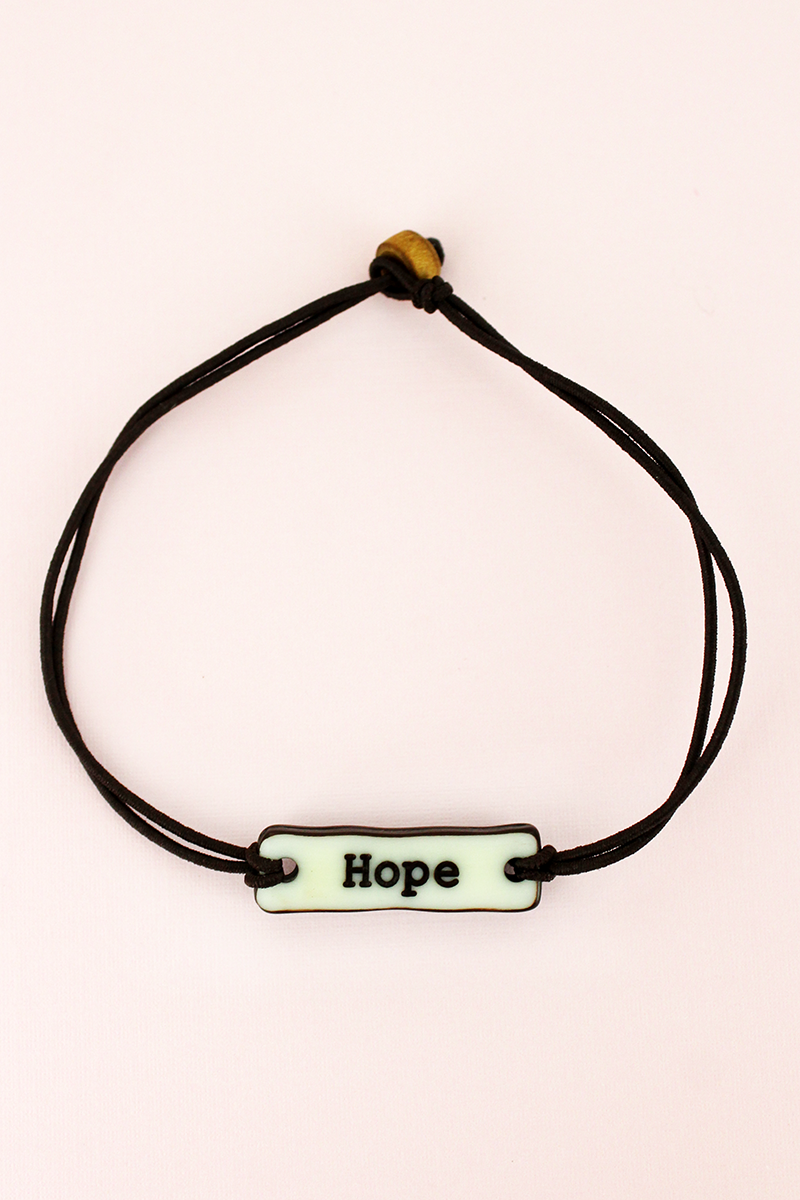 Hope Bar Wax Cord Bracelet