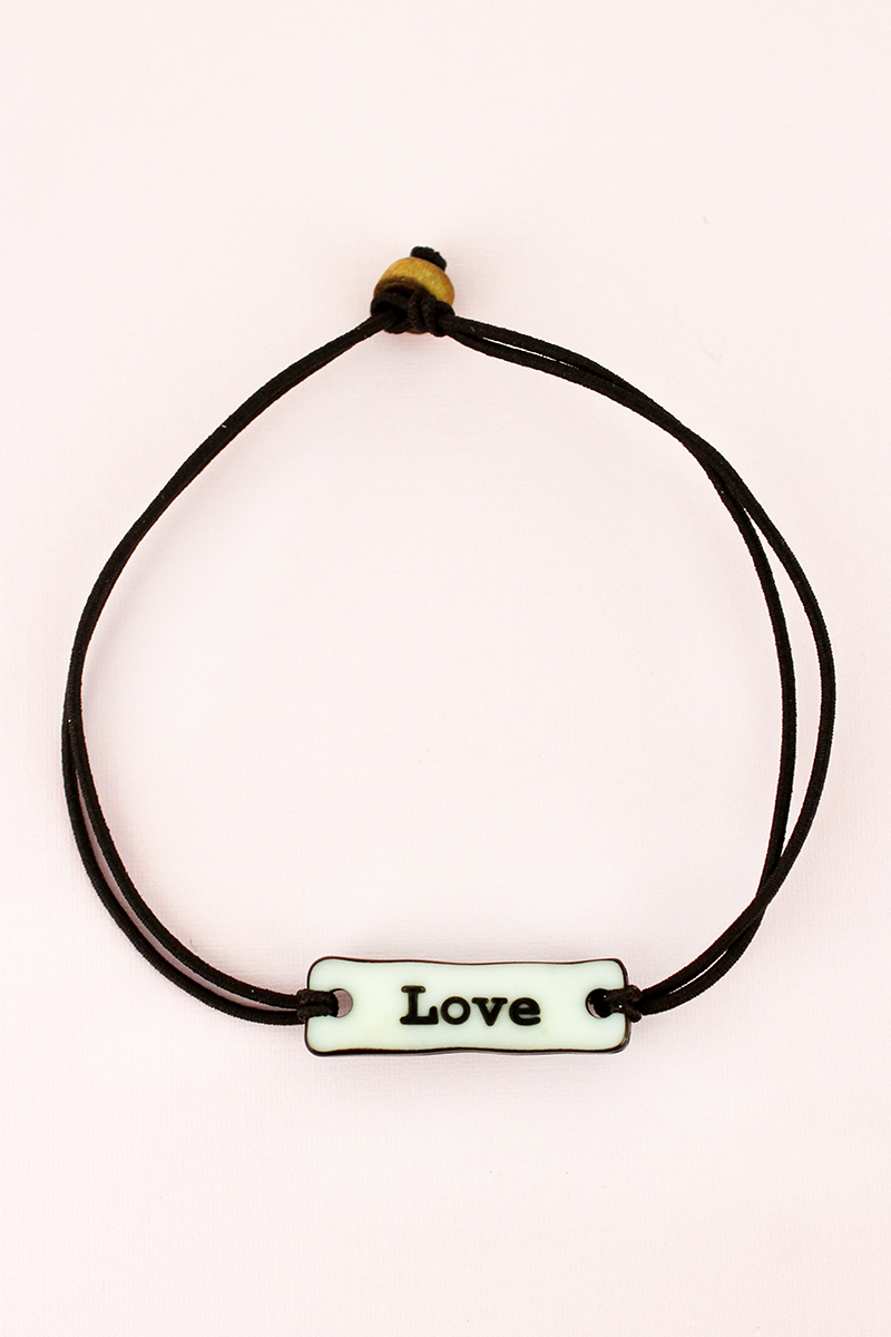 Love Bar Wax Cord Bracelet