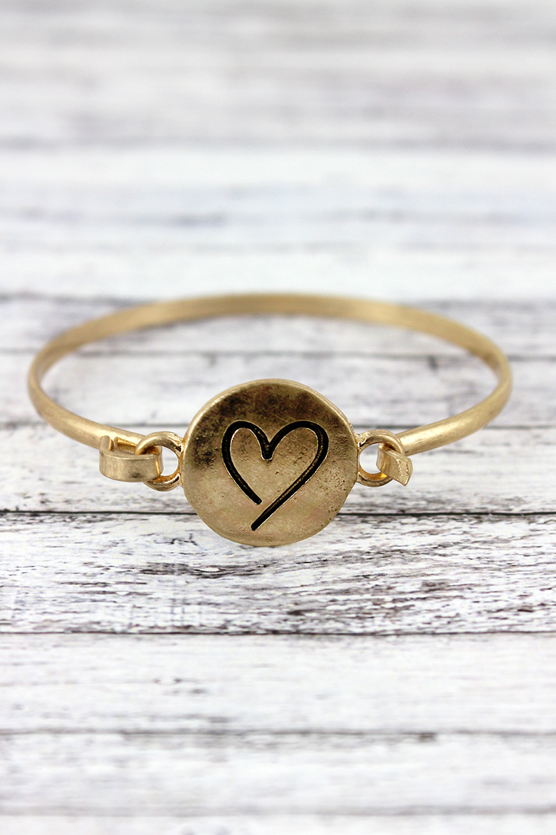 Worn Goldtone Heart Disk Bracelet