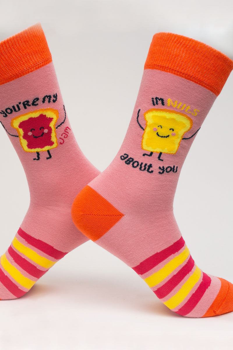 One Pair Large Peanut Butter And Jelly Socks