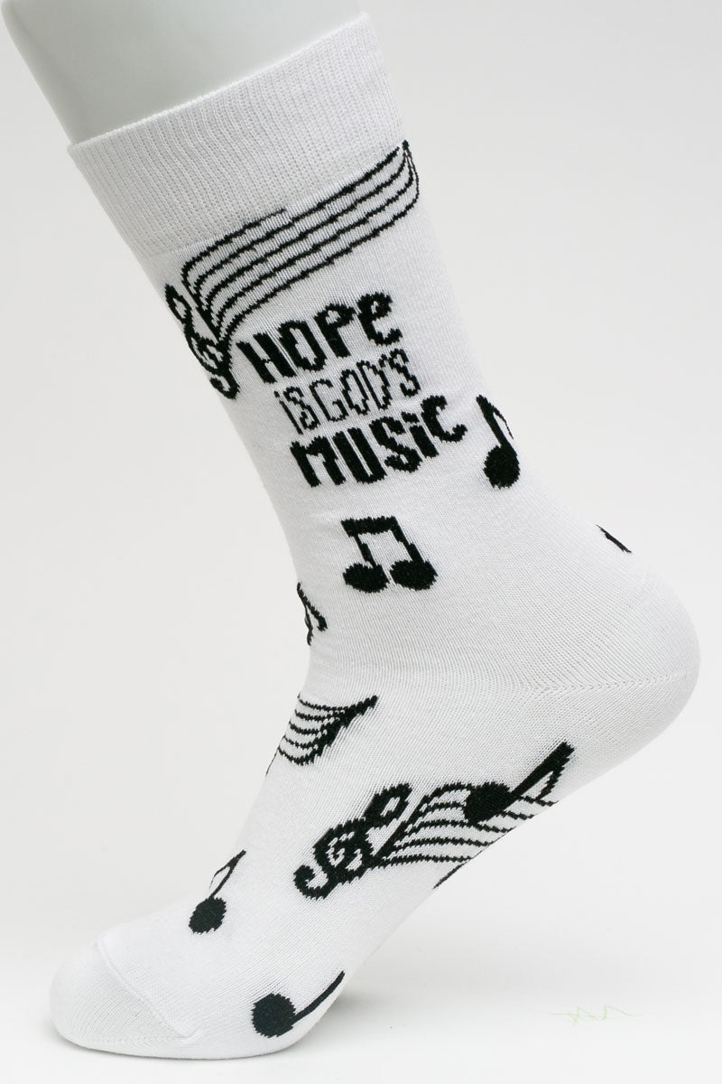 One Pair Large Hope Is God's Music Socks
