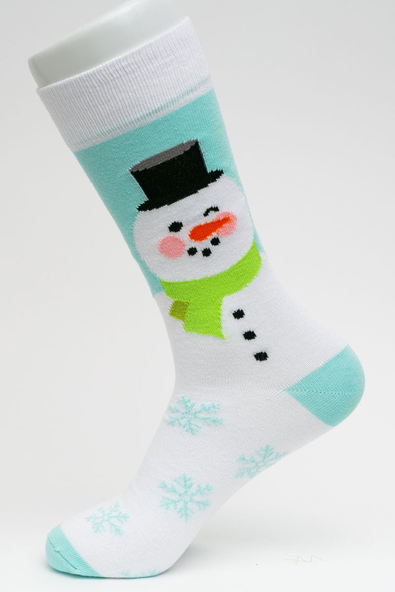 One Pair Large Snowman Wink Socks