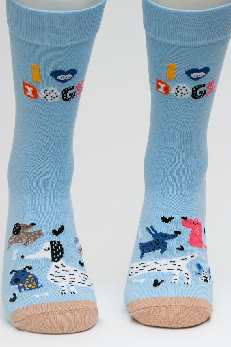 One Pair Small I Heart Dogs Socks