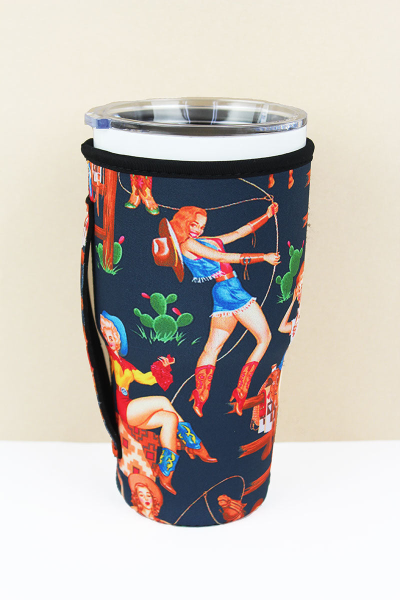 SALE! Cowgirl Pinups Black Tumbler Drink Sleeve