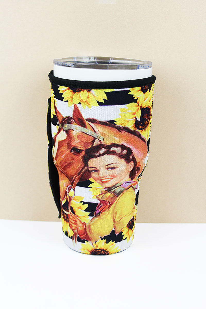 Cowgirl Sunflower Stripe Tumbler Drink Sleeve