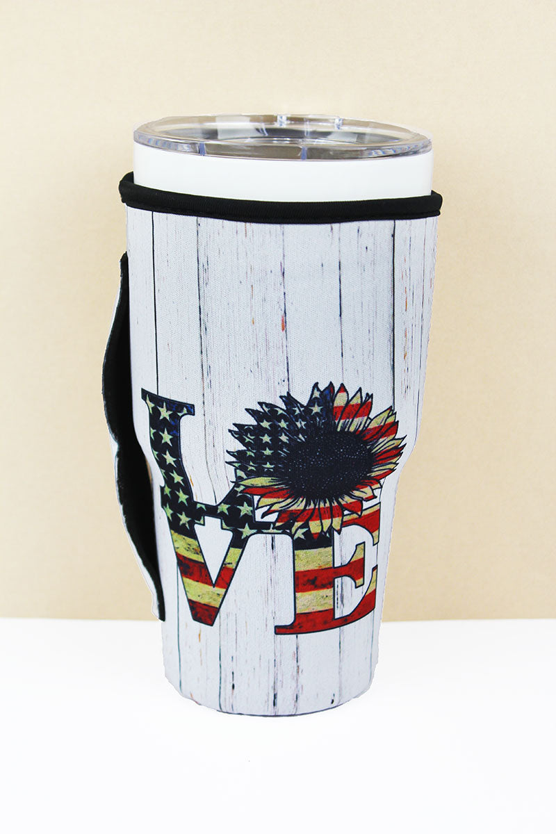 American Flag Sunflower 'Love' Tumbler Drink Sleeve