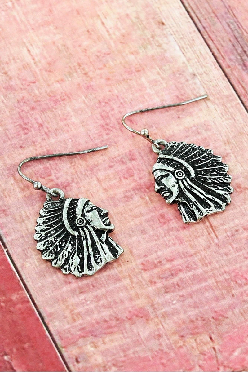 Burnished Silvertone Indian Chief Earrings #SE0032-SB - Wholesale Accessory Market