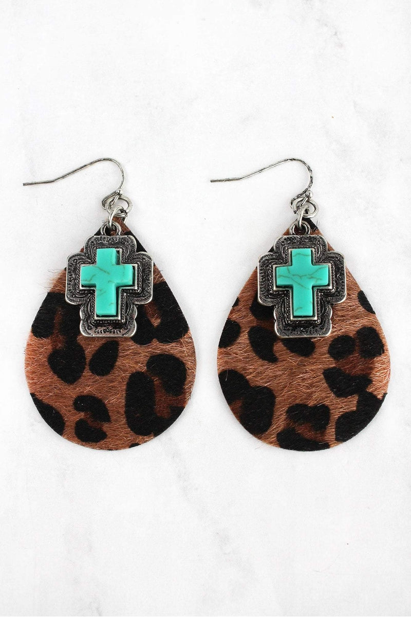 Western Turquoise Cross and Dark Leopard Teardrop Earrings