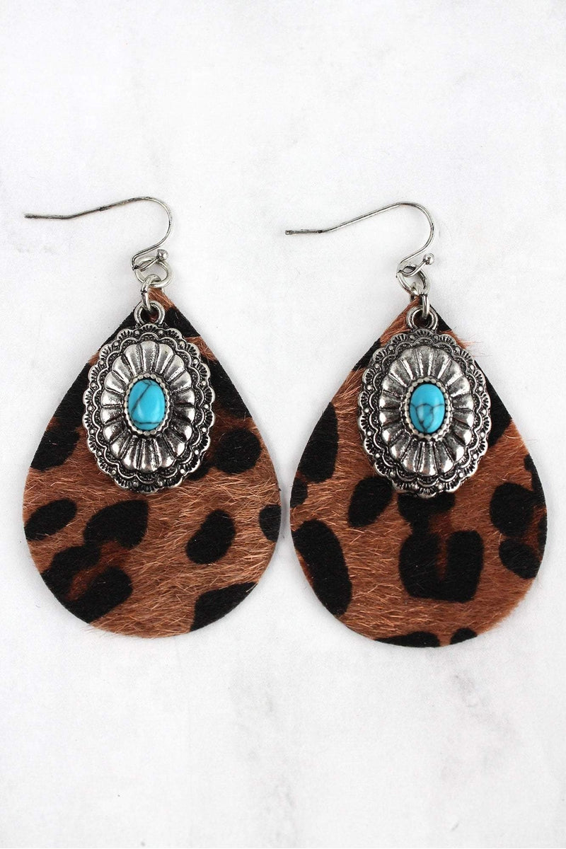 Western Turquoise Concho and Dark Leopard Teardrop Earrings