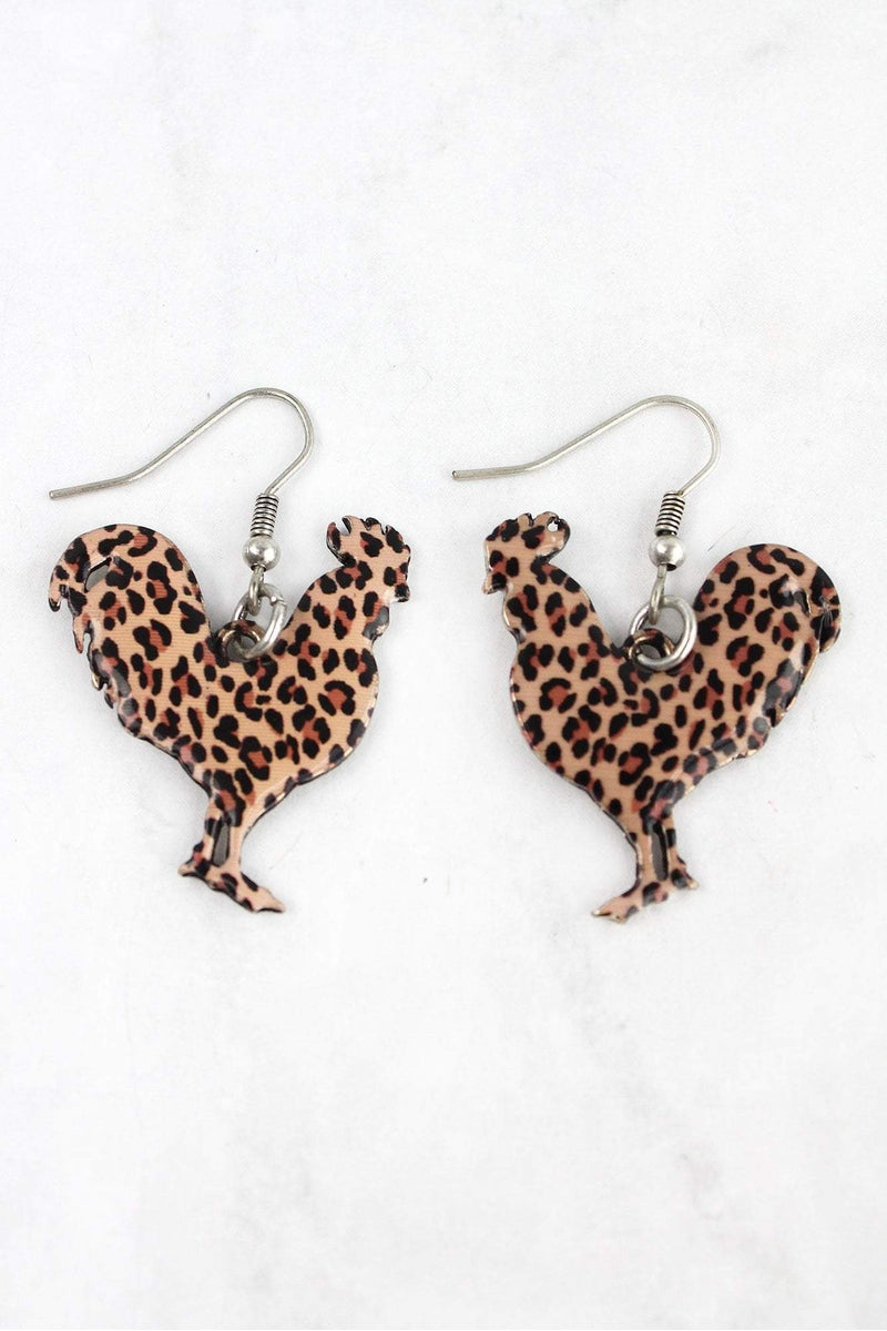 Leopard Print Rooster Silvertone Earrings