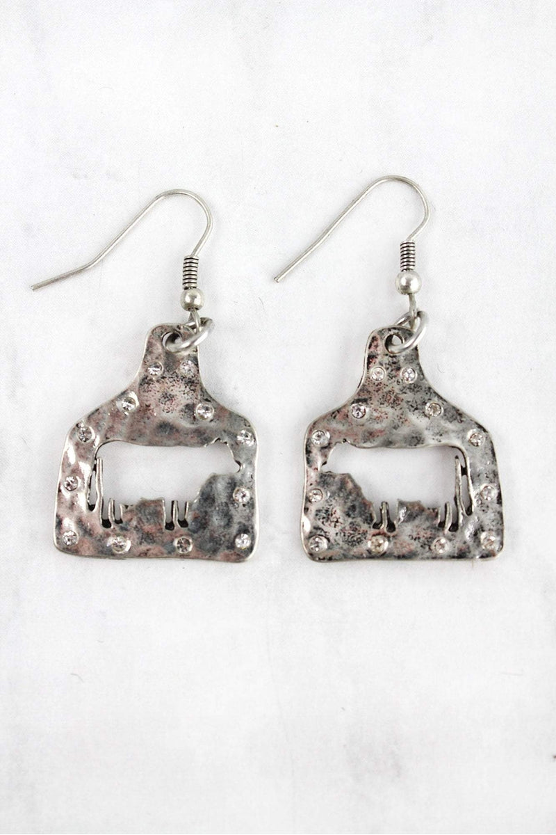Crystal Silvertone Cut-Out Cow Ear Tag Earrings