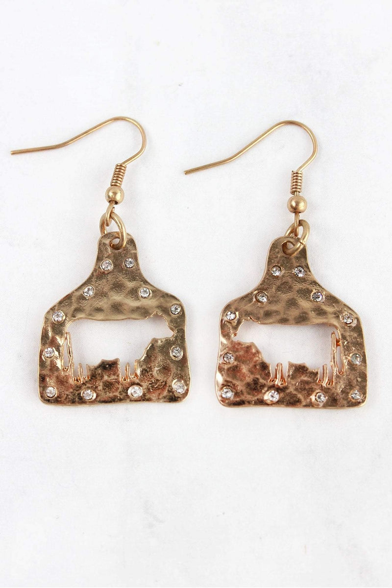 Crystal Goldtone Cut-Out Cow Ear Tag Earrings